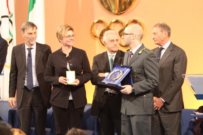 Campriani e Turisini premiati dal CONI con il diploma d'onore a la palma d'oro al merito tecnico.
